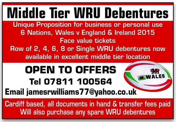 WRU Rugby Union Debentures For Sale