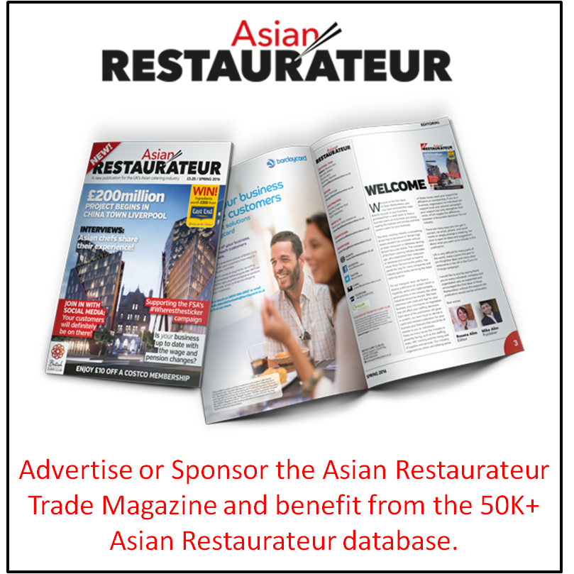 Advertise or Sponsor New UK Asian Restaurateur Trade Magazine
